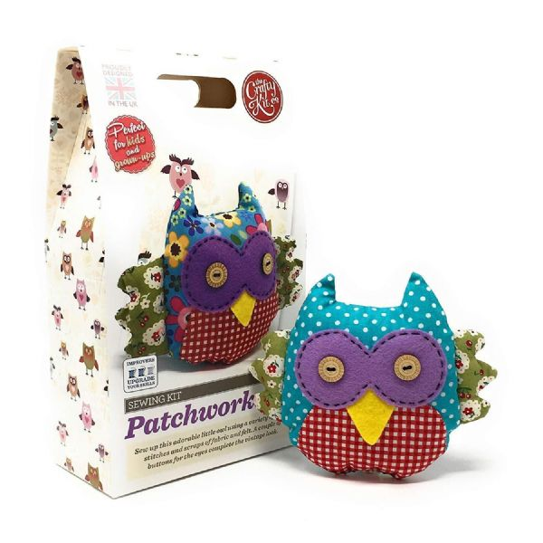 The Crafty Kit Co. Patchwork Owl Sewing Kit Suitable For Children Aged 7+ Years